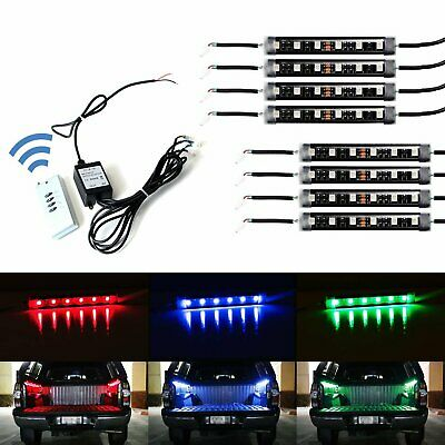 8pcs RGB Multi-Color Truck Bed Cargo Area LED Lighting Kit w/ Wireless Remote