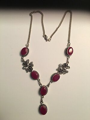 """Bali Design Oval Faux Red Ruby 925 Sterling Silver Plated 18"""" Floral Necklace"""