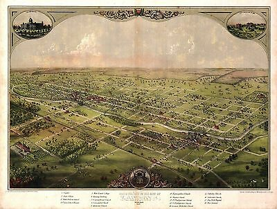 1866 LANSING old MICHIGAN map GENEALOGY atlas  poster INGHAM EATON county MI 20
