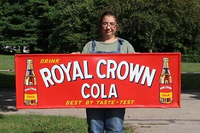 "Large Vintage 1940s RC Royal Crown Cola Soda Pop 54"" Embossed Metal Gas Oil Sign"