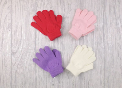 Girls pink, cerise, purple and cream gloves