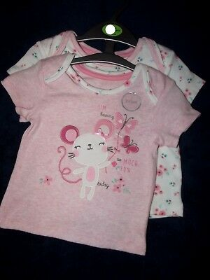 bn ex store baby girls 2 pack cotton tops t shirts newborn upto 12 months
