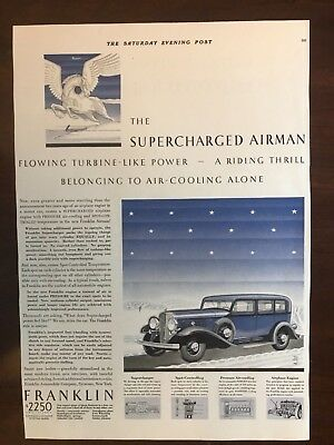 E 1932 Franklin Supercharged Airman Ad 13 3/4 x 9 3/4