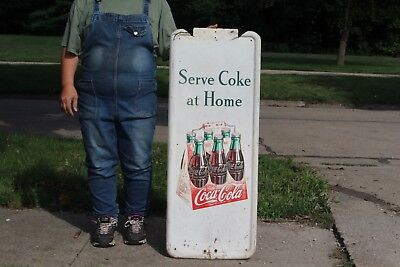 "Large Vintage 1947 Coca Cola Soda Pop 6 Bottle Carton Gas Station 41"" Metal Sign"