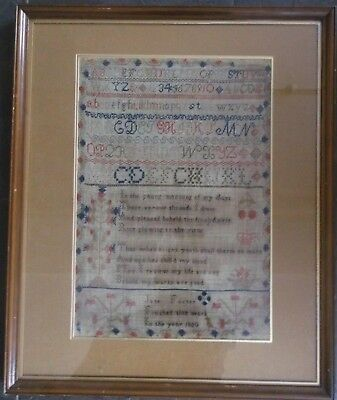 """1850 EARLY FRAMED SAMPLER by JANE FOSTER poem,letters,numbers 17"""" by 12"""""""