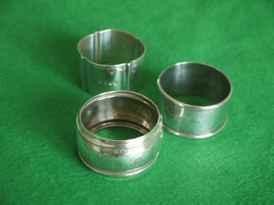 3 Nice Antique Hm 1900 1921 1941 Solid Sterling Silver Napkin Rings 57Grms