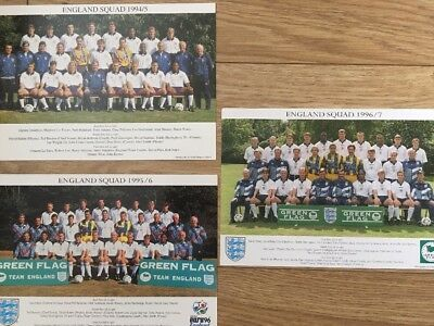 England Official Squad Photos And Signatures 1994/5, 1995/96 And 1996/97