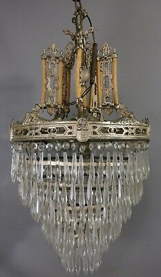 Antique ART DECO THEATER Old WATERFALL Style HANGING CRYSTAL Bakelite CHANDELIER