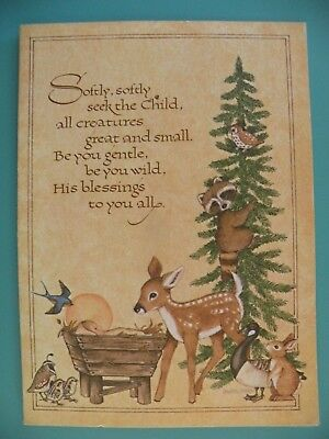 Unused vintage vintage greeting cards paper collectibles page 36 vtg religious christmas greeting card unused nativity wildlife current inc m4hsunfo