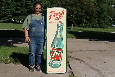"Large Vintage c1950 7Up 7 Up Soda Pop Bottle Gas Station 53"" Embossed Metal Sign"