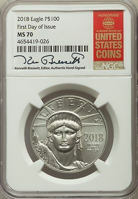 2018 P$100 One-Ounce Platinum Eagle, First Day of Issue, Signed, NGC MS 70
