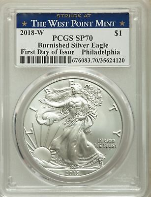 2018-W $1 Silver Eagle, Burnished, First Day of Issue, West Point, PCGS SP 70