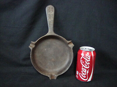 """Vintage Large CAST IRON ADVERTISINGSKILLET ASHTRAY """"The Tank With The Red Roof"""""""