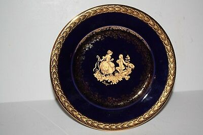 """Limoges Cobalt Blue and Gold 7.5"""" Decorative Plate w/Attached Stand"""