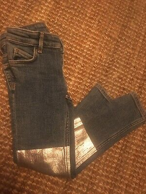 H&M Girls Boys Kids Childrens Jeans With Silver Metallic Patch On Knee 2-3 Years
