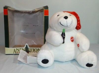 1995 Large Animated Coca Cola Coke Polar Bear Plush Sound Only 15.5""
