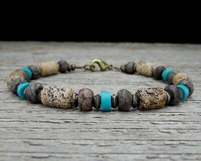 Mens Beaded Bracelet - Rustic Jasper and Turquoise Bracelet