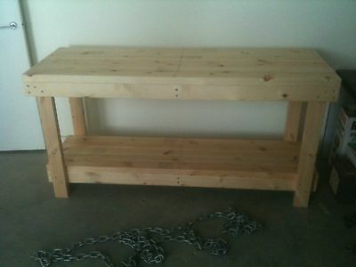 Custom Made Heavy Duty Timber Work Bench Table 1500 x 630 x 900
