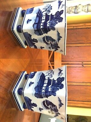 RARE ANTIQUE PAIR OF CHINESE BLUE AND WHITE PORCELAIN VASES Marked