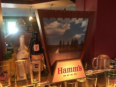RARE C 1950s BREWERIANA: Lighted Vintage Hamms Beer Sailboat on Lake Sign- Works