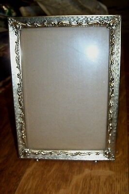 "VTG ORNATE GOLD BRASS METAL EMBOSSED FELT EASEL BACK PICTURE FRAME 5"" x 7"" BALL"
