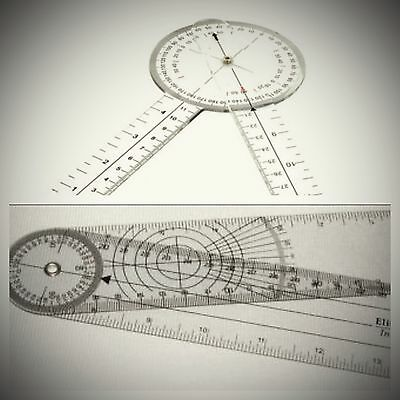 """US Seller FAST Shipping! 2 Piece Set - New 8"""" Inch Round & 8"""" Spinal Goniometer"""