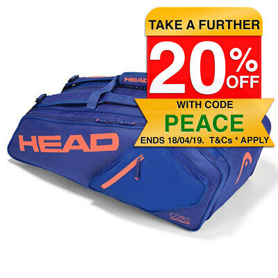 Head Core 6R Combi Tennis Bag w Accessory Pockets for Racquet/Racket Blue Frame