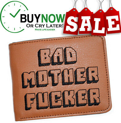 BAD MOTHER WALLET Embroidered BROWN Leather Wallet As Seen In PULP FICTION |BMF|