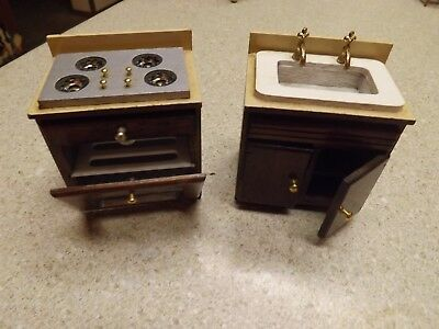 Vintage Dollhouse Doll House Miniature Wooden & Brass Stove & Sink, hinged doors