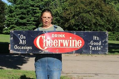 "Rare Large Vintage 1940's Cheerwine Soda Pop Gas Station 47"" Metal Sign"