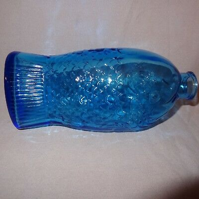 "Vintage Blue Fish Bottle Glass Doctor Fisch's Bitters 7.5"" Wheaton"