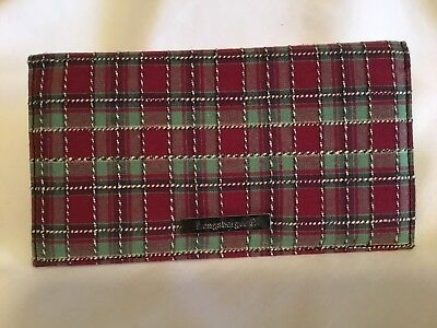 ~ Longaberger Checkbook Cover ~ Holiday Plaid Fabric  ~ BRAND NEW ~