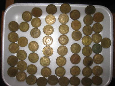 LOT OF 58 George VI brass threepence coins