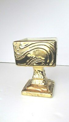 """VTG 22 KT Weeping Gold Swetye Ceramic Compote / Candy Dish /Square 6""""x4""""x4"""""""