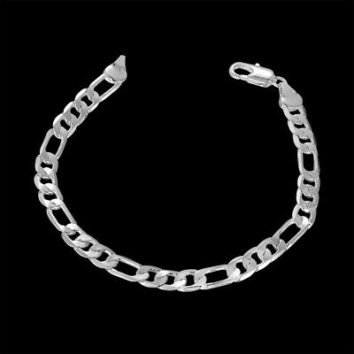 Hot 925Sterling Solid Silver Men Jewelry 6MM 3+1 Chain Bracelet For Women H219