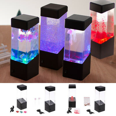 2x Romantic Fish Tank Color Vary JellyFish Water Lamp, Mood Night Light