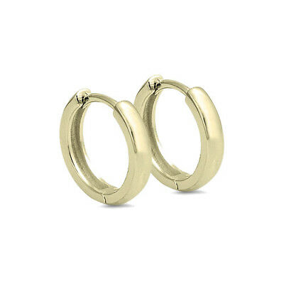 Yellow Gold Plated Designer Sterling Silver Huggie Hoop Earrings 10mm - 20mm