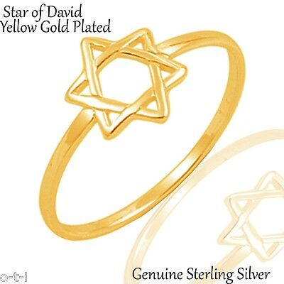 18k Yellow Gold Plated Star of David Genuine Sterling Silver Ring