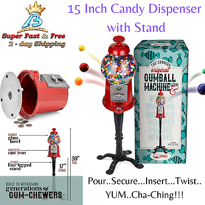 Real Glass Vintage Candy Gumball Machine Globe Bank Storage Dispenser With Stand