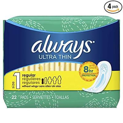 Always Ultra Thin Regular Without Wings, Unscented Pads 22 Count (Pack of 4)