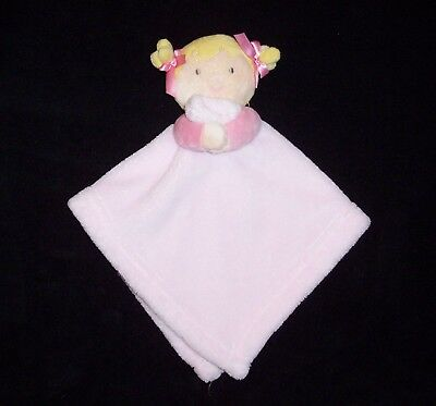 Blankets & and Beyond Pink Doll Baby Blanket Blonde Pigtails Puppet Style Lovey