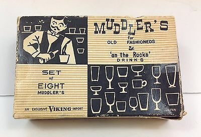 Vintage Barware Old Fashioned Wooden Muddlers In Original Box Set Of 8