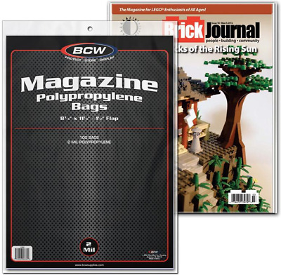 (500) BCW MAG Magazine Size Sleeves Polypropylene Current Plastic Bags Storage