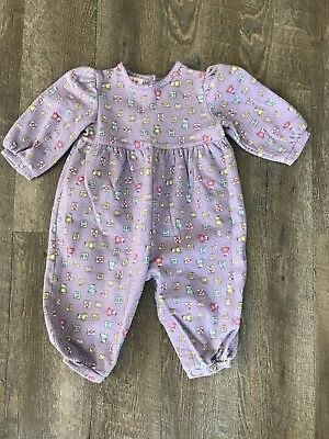 Vintage Carters Baby Girl Toddler Romper Teddy Bears 3/4 Sleeve