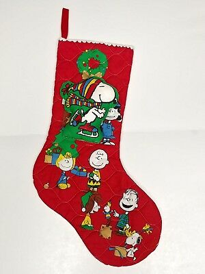 vintage handmade quilted plush peanuts snoopy christmas stocking - Snoopy Christmas Stocking