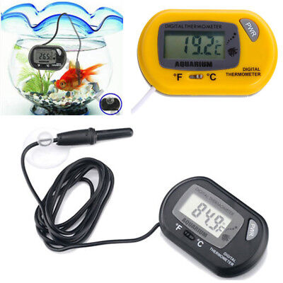 Digital LCD Fish Tank Aquarium Marine Water Thermometer Temperature Black Yellow