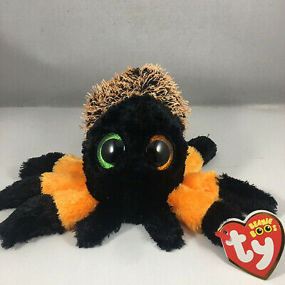 "Ty Beanie Baby Boos 6"" Halloween Hairy the Orange Spider Boo Plush w/ Heart Tags"