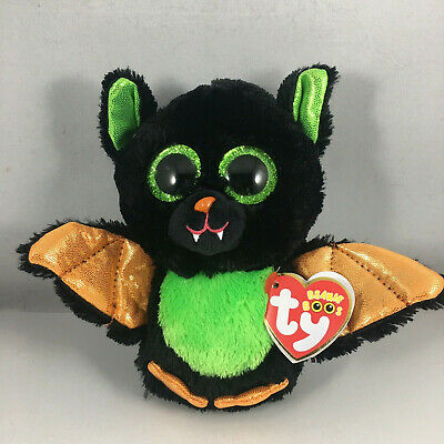 "TY Halloween Beanie Boos 6"" Beastie the Bat Animal Plush w/ MWMT's Heart Tags"