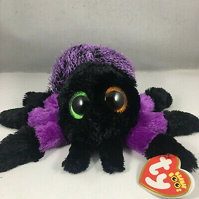 "2018 Halloween TY Beanie Baby Boos 6"" CREEPER the Purple Spider Plush MWMT's"