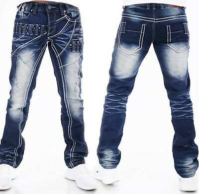 HIGHNESS Herren Jeans Hose Loose Fit Men´s Wear Patches Nieten Waschung HN-611